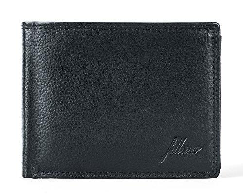 FILLASO Geldbörse Herren aus 100% Echtleder in schwarz mit 8 Kartenfächern inkl. Ausweismappe | Geldbeutel / Portemonnaie mit Geschenkbox für Männer