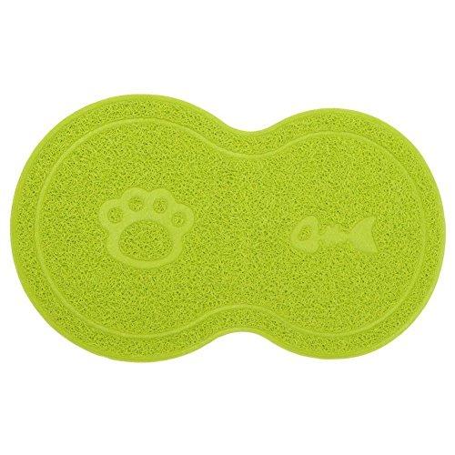 SUAVER Katzenstreu Kasten Matte, Wasserdicht Pfote und Knochen Stil PVC Katzenstreu Futtermatten Nahrungsmittelschüssel Matten,26 x 45 cm (Grün)