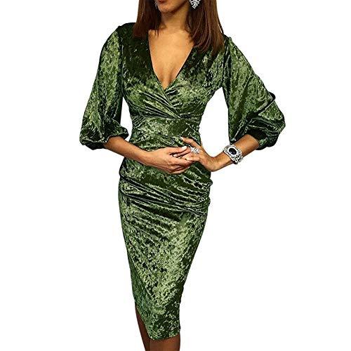 Galy Neues Samtkleid Große Größe Kreuz V-Ausschnitt Laternehülse Hohe Taille Schlankes Kleider (Color : Green, Size : M)