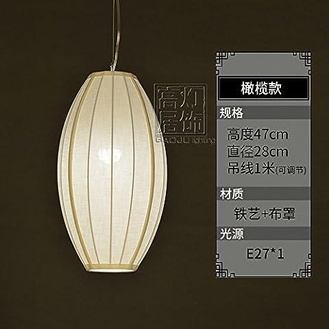 Nouveau lustre chinois Zen une cuisine moderne bar chambre den salon de thé restaurant bar diamètre de lanternes décoratives créatives, olive tissu 28 * 47cm de haut