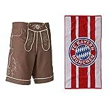 FC Bayern München 2tlg. Set Badeshort Lederhose XL mit Duschtuch