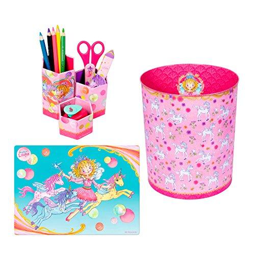 Prinzessin Lillifee 3er Set 12805 12771 12967 Schreibtischauflage, Papierkorb & Stifteköcher