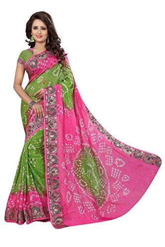 Bandhani Saree(Dealsure Women's Multicolor Bandhani Saree)