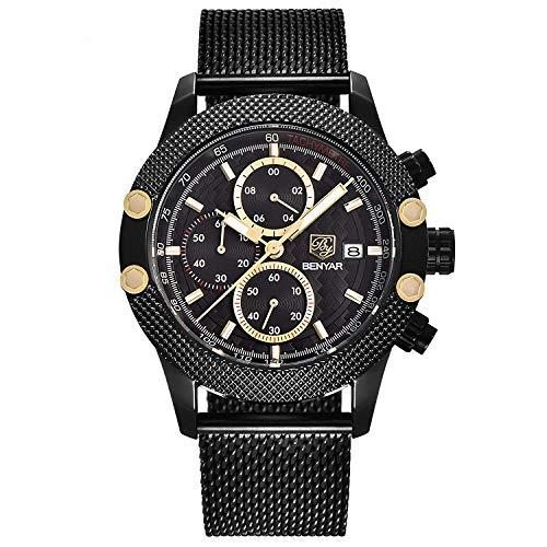 Sport Fashion orologi da uomo in rete in acciaio INOX fascia star-dotted speciale design lunetta orologio con lancette e colore dorato sub-dial uomo cronografo casual orologi da polso al quarzo