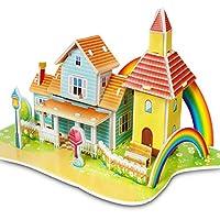 XLY 1 pc Cartoon Castle Garden Princess Doll House Furniture DIY Dollhouse 3D Puzzle Interesting Educational Toys For Children