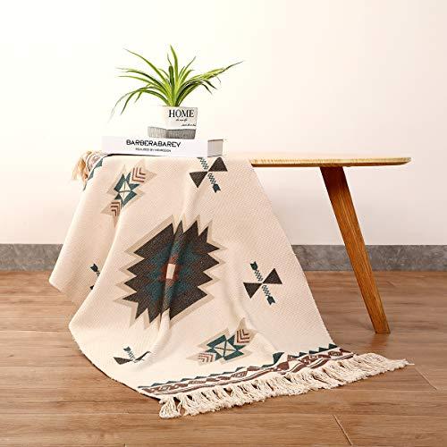 Home Deco Alfombra de algodón, Alfombra Tejida a Mano con borlas, 60x90cm Estampadas geométrica/Esterilla...