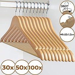 Cintres en Bois - Quantité au Choix ( Lot de 30/50/100) - d'érable sans échardes avec Barre antiglisse Encoches Conception, Crochet pivotant à 360° - pour Pantalons, et encoches pour jupe
