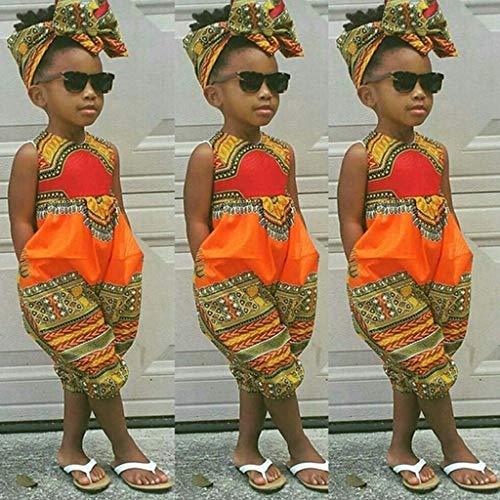 Mitlfuny Unisex Baby Kinder Jungen Zubehör Säuglingspflege,Kleinkind Kinder Baby Mädchen Outfits Kleidung Afrikanischen Print Ärmelloses Strampler Jumpsuit (Afrikanische Kleidung Für Mädchen)