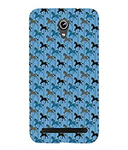 For Asus Zenfone Go ZC500TG -Livingfill- Horses pattern on blue background Printed Designer Slim Light Weight Cover Case For Asus Zenfone Go ZC500TG (A Beautiful One of the Best Design with a Classic Theme & A Stylish, Trendy and Premium Appeal/Quality) (Red & Green & Black & Yellow & Other)