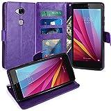 Huawei Honor 5X Funda, LK Carcasa Cubierta Cuero Billetera Case Flip Cover Con Ranuras de Tarjeta - Púrpura