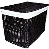Large Black Wicker Storage Trunk Chest Hamper Basket Lidded With White Linning