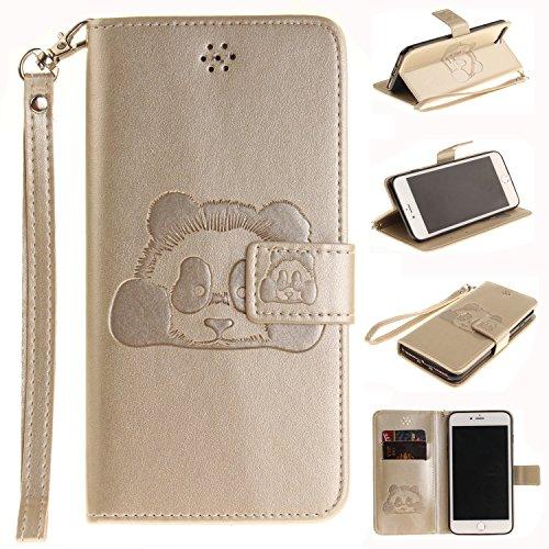 Meet de Red Panda gaufré pour Apple iphone 6 Plus /iphone 6S Plus Case, Folio pour Apple iphone 6 Plus /iphone 6S Plus PU Housse,Wallet / flip étui / Pouch / Case / Holster / Wallet / Case en cuir Wal d'or