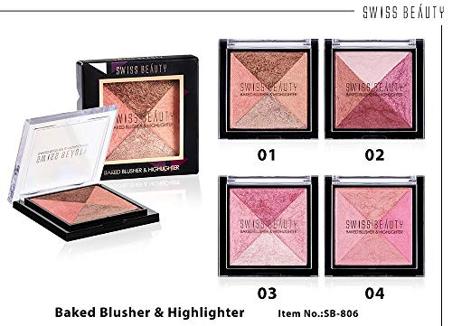 Swiss Beauty 2 Baked Blusher & Highlighter (7g, ColorSet-03)