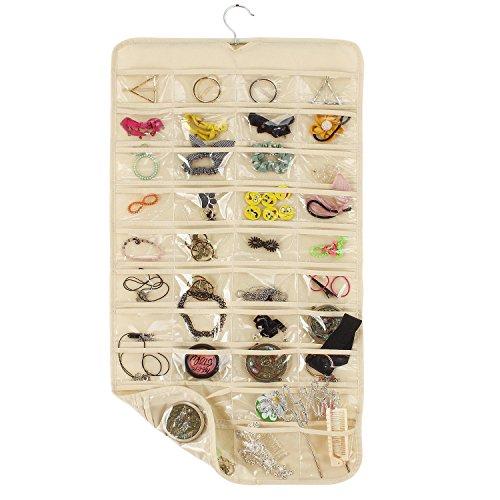 uctop Zwei Seiten 80Pocket Jewelry Accessories hängende Aufbewahrung Organizer Folding Travel Tasche für Halskette Ohrringe Ring Armband Hängeverpackung mit 80Display transparent Taschen (beige)