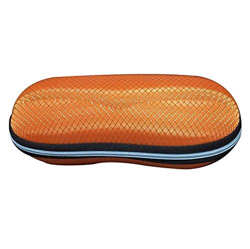 Dosige Retro Brillenetui Stoßabsorbierendes Hardcase Brillenbox mit Zipper Sonnenbrillen Schutzhülle Hartschale Orange