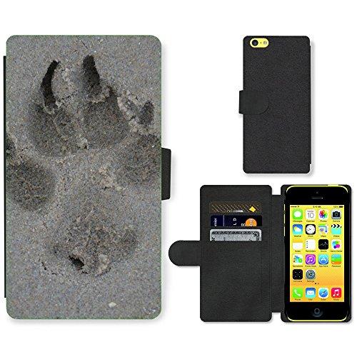 Just Mobile pour Hot Style Téléphone portable étui portefeuille en cuir PU avec fente pour carte//m00138471jambe pour chien imprimé sable//Apple iPhone 5C