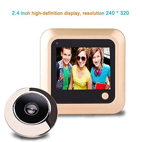 Richer-R 2.4 Zoll Digitaler Türspion, HD LCD Display Weitwinkel 145 ° Türspion-Kamera Überwachungskamera,Digital Foto Video Türkamera für Türstärke von 35-110mm Gold