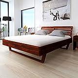 Festnight Holzbett Doppelbett Bett Bettgestell Gästebett aus Akazienholz ohne Matratze