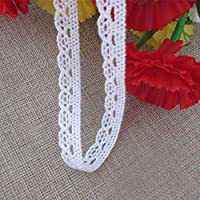 10 Yards Cotton Crochet Lace Edge Trim Ribbon 1.2 cm Width Vintage Style White Edging Trimmings Fabric Embroidered Applique Sewing Craft Wedding Bridal Dress Embellishment DIY Party Clothes Embroidery