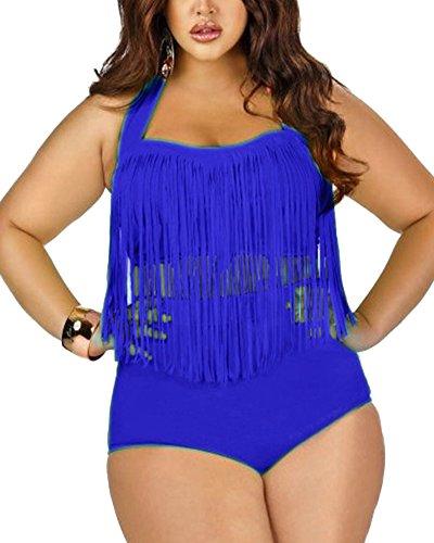 SaiDeng Damen Übergröße Retro Fransen Hohe Taille Zwei Stück Halfter Bikini Bademode Saphir Blau