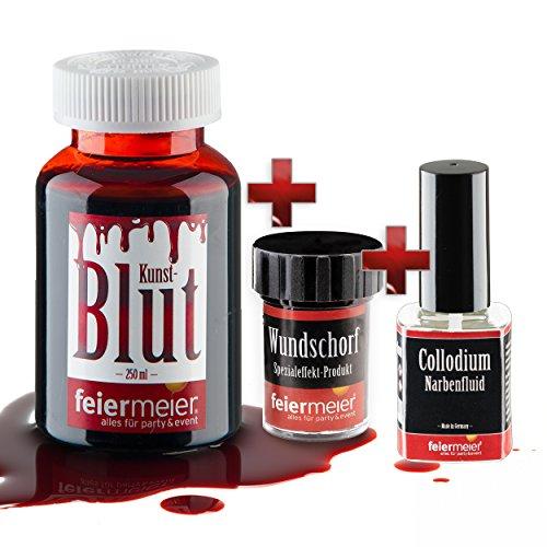 Halloween Horror Set XL / 250ml Kunstblut + verkrustetes Blut Wundschorf + Narbenfluid (Schnitte Narben Und Halloween)