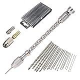 Mini trapano a mano in alluminio, semiautomatico, con 2 mandrini + 20 punte a spirale 0,3 - 1,6 mm, in acciaio super rapido
