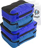 Packing Cubes 4pcs Value Set for Travel – Plus 6pcs Luggage Organiser Zip Bags (Blue Tale+Deep Blue)