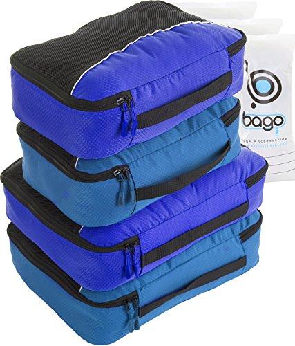 Packing Cubes 4pcs Value Set for Travel – Plus 6pcs Luggage Organiser Zip Bags (Blue Tale+Deep Blue)