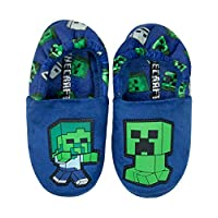 Official Minecraft Creeper vs Zombie Boys Blue Slippers Kids House Shoe