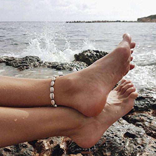 Yesiidor Fußkettchen Damen Muscheln Muster Fußkette Armband Armketten