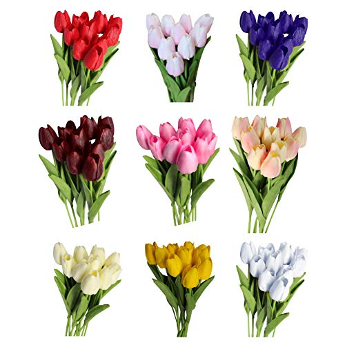 yibenwanligod 10pcs Künstliche Tulpe Blumen Gefälschte Pflanzen Für Haus Büro Dekoration rot