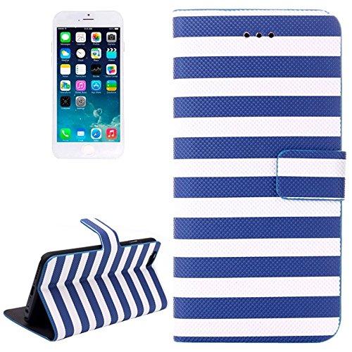 YAN Pour IPhone 6 et 6S, étui en cuir horizontal à rayures avec support pour iPhone 6 et 6S ( Color : Red ) Blue