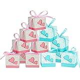 100 Boîtes dragées,Boîte Cadeau, sachets Bonbonnières, facile de montage,Bonbon Boîte à Dragées avec Ruban en Papier pour Décoration de Marriage Baptême Anniversaire 5.2*5.2*5CM (heart box)