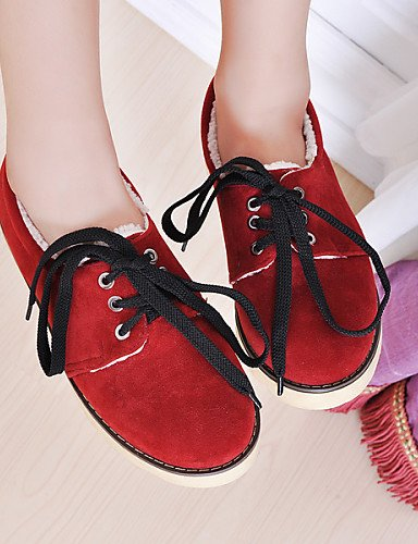 ZQ hug Scarpe Donna - Stringate - Casual - Punta arrotondata - Basso - Finta pelle - Marrone / Giallo / Rosso , brown-us8 / eu39 / uk6 / cn39 , brown-us8 / eu39 / uk6 / cn39 red-us8 / eu39 / uk6 / cn39