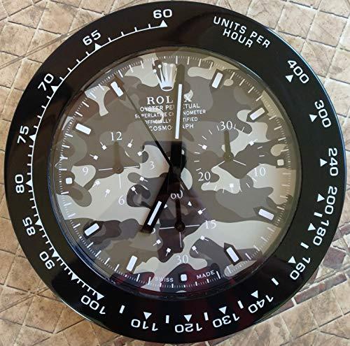 REPLICA Rolex 35 CM da Muro Daytona GHIERA Nera QUADRANTE Bianco Metallo Movimento Silenzioso + 2 CD Audio Omaggio