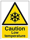 vsafety 62008an-s Attenzione bassa temperatura temperatura di allarme, Autoadesivo, segno, verticale, 150mm x 200mm, colore: nero/giallo