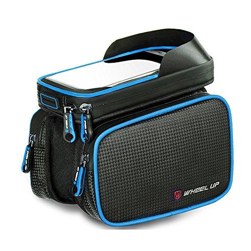 Rad bis Bike vorne Top Tube Touchscreen Satteltasche, Radfahren Rahmen Doppel Tasche Handy Paar Pack blau