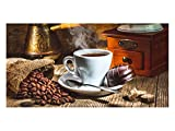GRAZDesign 991067_90x57 Sichtschutzfolie Kaffee-Tasse/Kaffeebohnen | Bedruckte Fensterfolie | Glasdekorfolie als Sichtschutz für Küchen-Fenster (90x57cm)