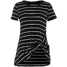 Gamiss Mujer Blusa Manga Corta Camisas Camiseta Top Hecho un Nudo en el Dobladillo Verano 2017