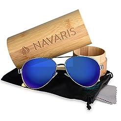 c7b0fa9bfdf7 Navaris Aviator UV400 Bamboo Sunglasses – Unisex Wooden Optics ...