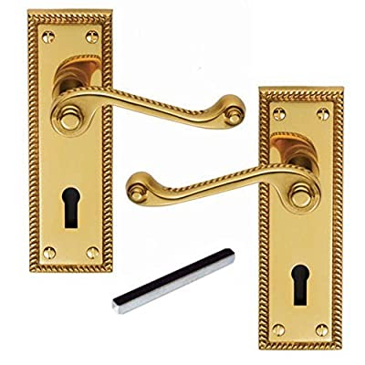 Ironmongery World® Vintage Old Georgian Style Scroll Door Handles Mortice Lever Latch Lock produced by IRONMONGERY WORLD® - quick delivery from UK.