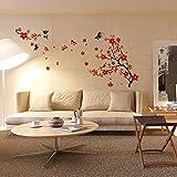 Walplus 150x90 cm Adesivi Parete ' Cherry Plum Blossom Fiori e Farfalle ' Rimovibile Autoadesivo Murale Art Decalcomanie Vinile Decorazione Casa Soggiorno Camera Ufficio da Parati Bambini
