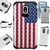 for Samsung Galaxy J3 J337 (2018) | J3 Orbit | J3 Achieve | Express Prime 3 | Sol 3 | J3 Top | J3 Star | Amp Prime 3 Case Hybrid TPU Fusion Phone Cover (US Flag Crosshatch)