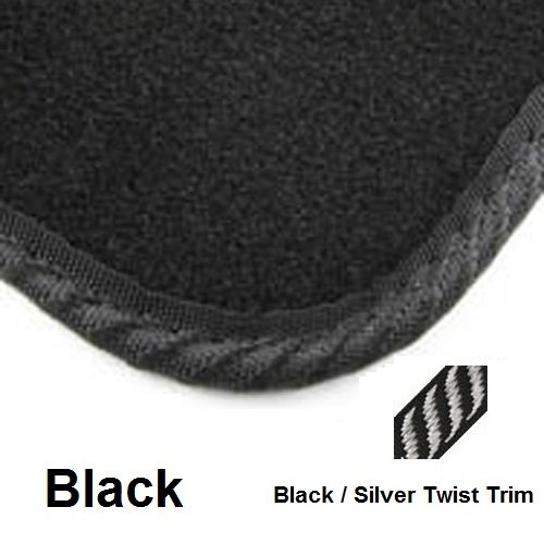 Poly Tailored Black Car Mats Citroen C4 Grand Picasso 2007 - 2014 4 piece New Black / Silver Twist Mat Trim 4446_F