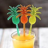 Pineapple Cocktail Stirrers - Set of 24 - Novelty Plastic Drink Stirrer