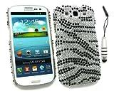 Emartbuy ® Stylus Pack Per Samsung Galaxy S3 I9300 Siii - Mini Metallic Silver Stylus + Lcd Screen Protector + Diamante Duro Della Copertura Posteriore Zebra Nero Bianco