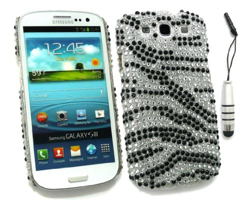 Emartbuy ® Stylus Pack Für Samsung Galaxy S3 Siii I9300 - Mini Metallic Silver Stylus + Lcd Screen Protector + Diamante Hard Cover-Rückseite Zebra Schwarz Weiß Zebra Hard Case Lcd