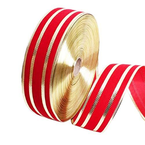 PEAFG 5 Volumen Weihnachtsbaum Hochzeit 2 Mt Rot Gold Silber Rosa Band 5/6,3 cm Party Home Dekoration Geschenkverpackung Jahr DIY5/6,3 cm, A (Silber Band Wrapping)