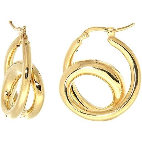 Revoni-Collana in argento Sterling in rilievo Italiano-Orecchini a doppio anello con finiture in oro, 1 1/16 in., 26 mm - Oro Collana In Rilievo