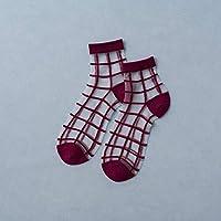 CYMTZ 5 Par/Paquete De Calcetines De Mujer Verano Nuevos Coloridos Calcetines De Tobillo Encantadores Calcetines Transparentes Finos De Seda Suave Calcetines Geniales A Cuadros5
